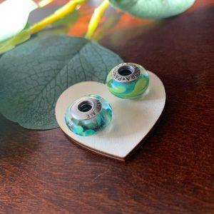 2 glass pandora charms